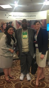 Nancy Vallejo and Amanda Ah Sue with Alert Client Dr. Karl Douyon