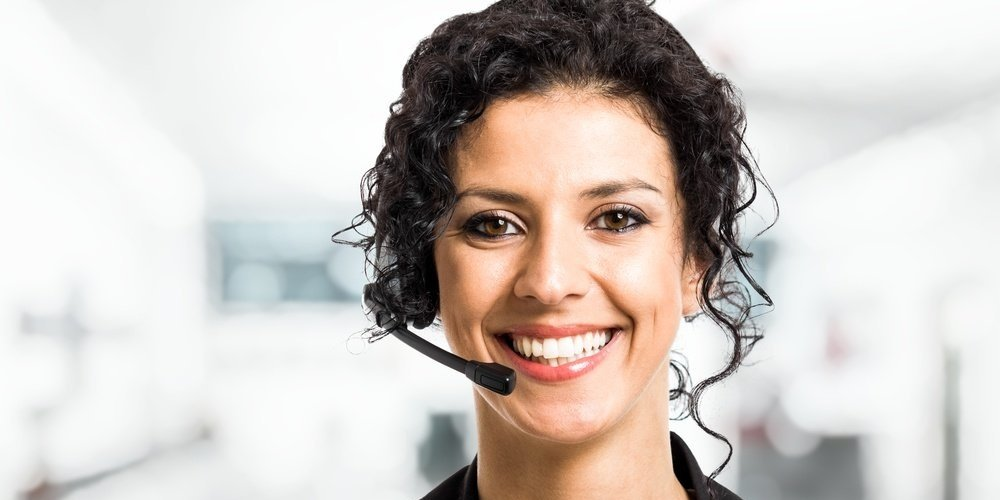 inbound call worker with a headset